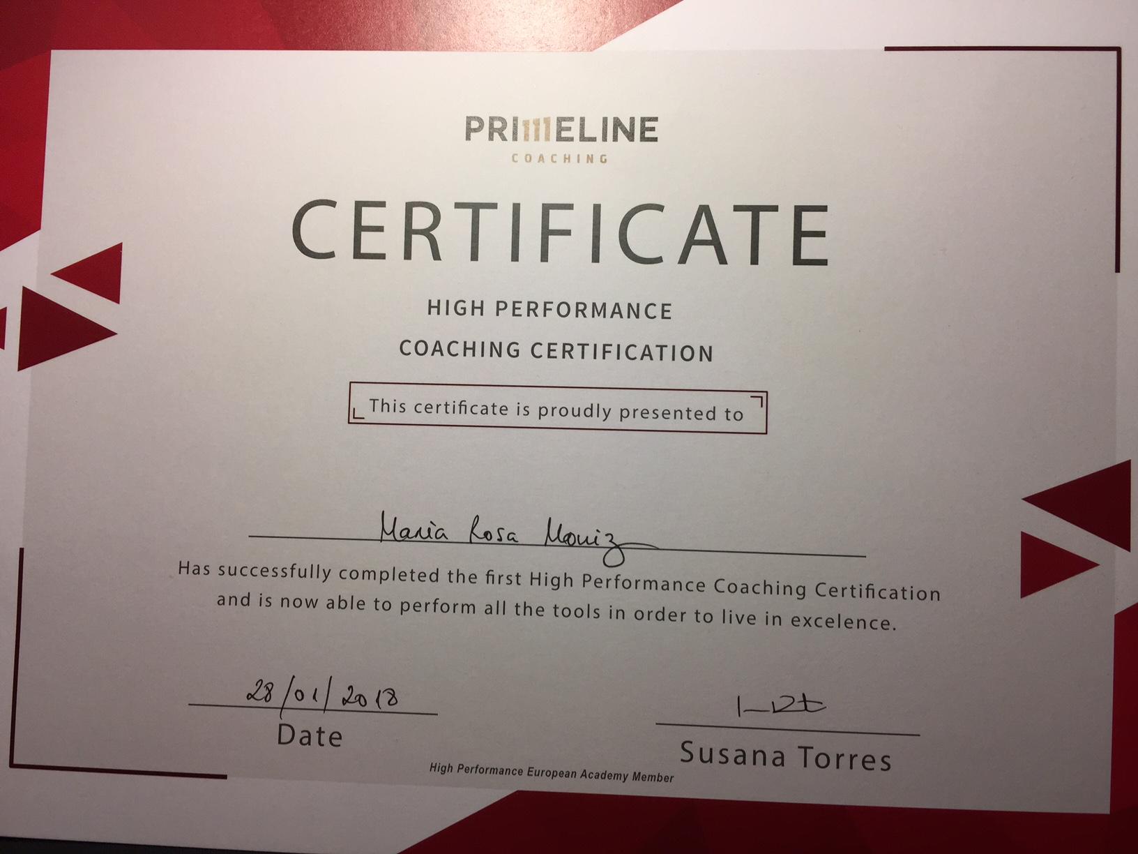 Certificado Primeline